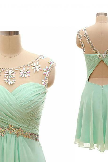 Cheap homecoming dresses 2017,Mint Green Homecoming Dress,Backless Homecoming Dresses,Chiffon Homecoming Dress,Backless Party Dress,Open Back Prom Gown,Open Backs Sweet 16 Dress,Cocktail Gowns,Short Evening Gowns