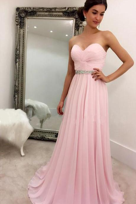 Cheap prom dresses 2017,light pink pleated sweetheart long chiffon prom evening dresses 2017 elegant