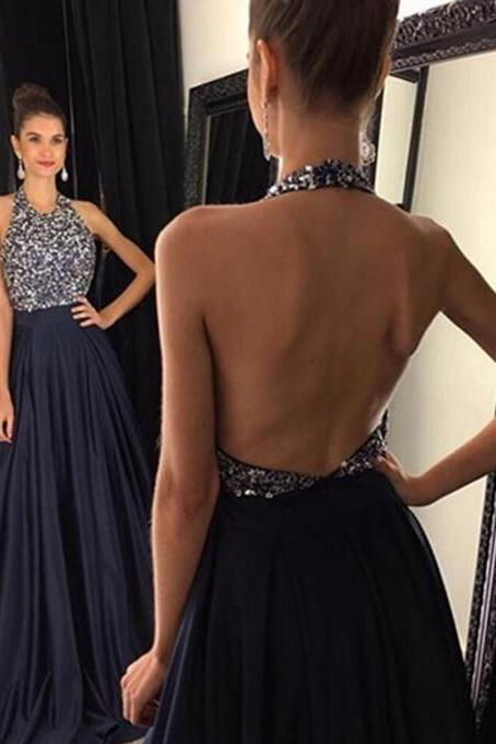 Cheap prom dresses 2017,Navy Blue Prom Dresses,Elegant Evening Dresses,Long Formal Gowns,