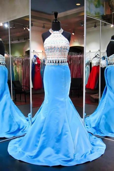 White Prom Dresses, 2 Piece Prom Gowns,2 piece Prom Dresses,Prom Dresses,Prom Gown,2017 Prom Dress With Beading For Teens