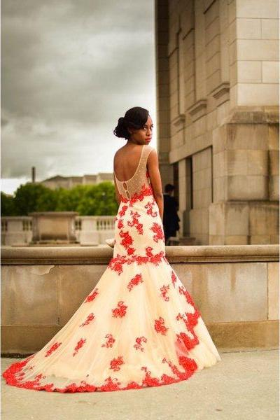 Cheap prom dresses 2017,Red Prom Dresses,Mermaid Prom Dress,Red Prom Gown,Lace Prom Gowns,