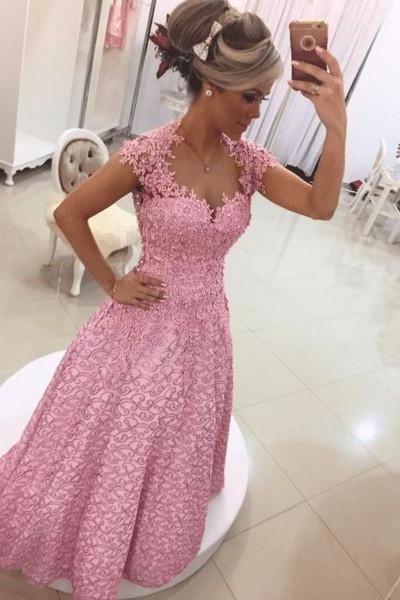 Cheap prom dresses 2017,Elegant Long Prom Dress - Lilac Sheath Sweetheart with Lace