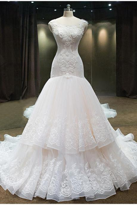 luxury Mermaid Wedding Dress With crystals And Beadings Scoop Organza Ruffers Pears Chapel Train Backless Bridal Gowns