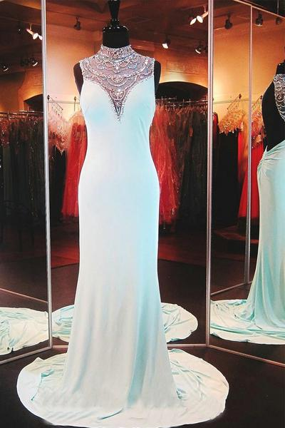 Cheap prom dresses 2017,Beautiful Sleeveless Chiffon BacklessLong Prom Dress Evening Dresses