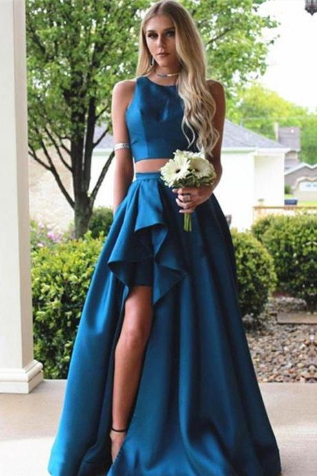Cheap prom dresses 2017,Royal Blue Satin 2 Pieces Prom Dresses 2017