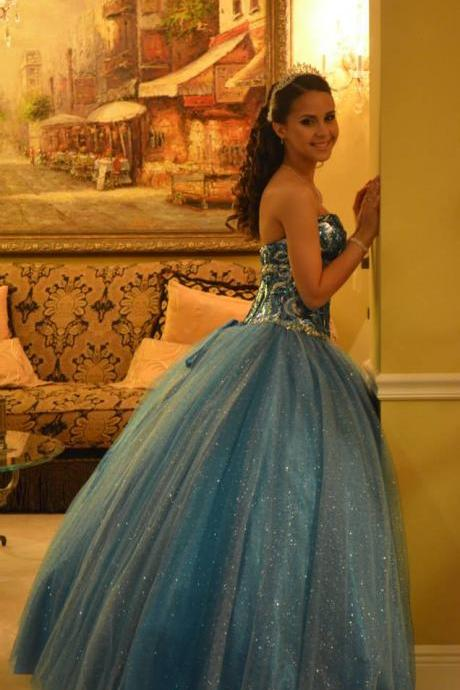 Cheap prom dresses 2017,Sparkly Blue Quinceanera Dresses with Gold Crystals 2017 Sweetheart Party
