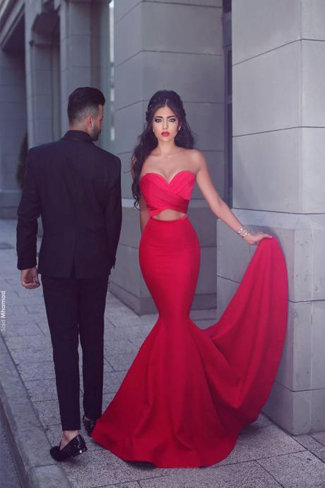 Cheap prom dresses 2017,Red Mermaid Evening Dresses 2017 Said Mhamad ,Soft Satin Long Party Dresses ,