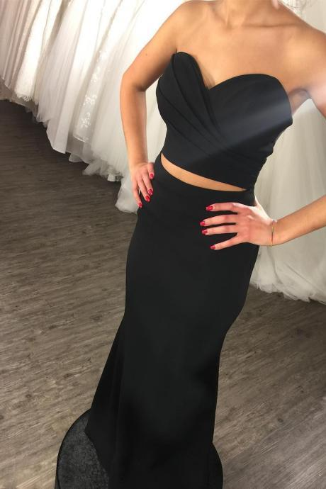 Cheap prom dresses 2017,2 Pieces Bridesmaid Dresses 2017 Black Mermaid Long Party Gowns