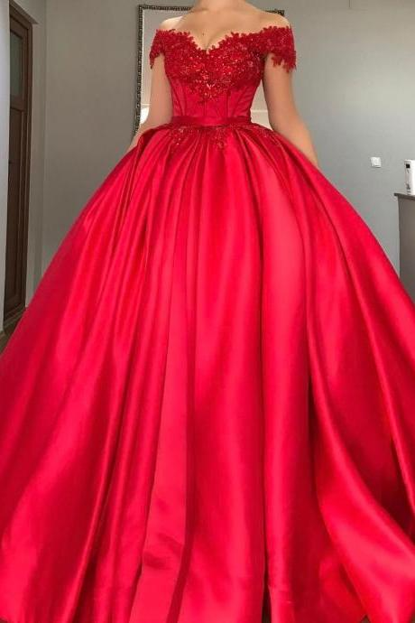 Cheap prom dresses 2017,Charming Ball Gown Prom Dresses with Beads Lace Appliques 2017