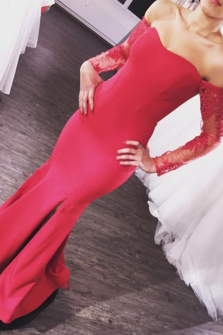 Cheap prom dresses 2017,Cheap Price Red Mermaid Bridesmaid Dresses 2017 Sheer Long Sleeves