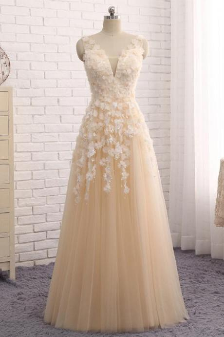 Cheap prom dresses 2017,Evening Dress Champagne Tulle A Line Evening Gowns V Neck Sleeveless Long Dress