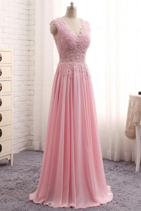 Cheap prom dresses 2017,Robe De Soiree Longue Sexy Pink Chiffon Evening Gowns V Neck Sleeveless