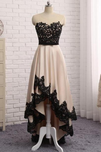 Cheap prom dresses 2017,Champagne Evening Dress Front Short Back Long Black Lace Robe De Soiree Long Party