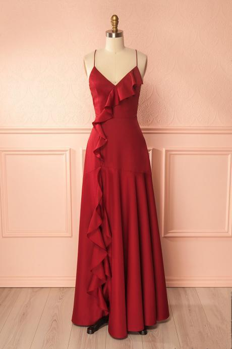 Cheap prom dresses 2017,Simple Burgundy V Neck Long Prom Dress,Lace up Back Formal Dress,