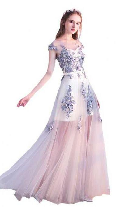 Cheap prom dresses 2017,Prom Dress,Sexy Long Prom Dress,Tulle prom dress,applique prom dress,