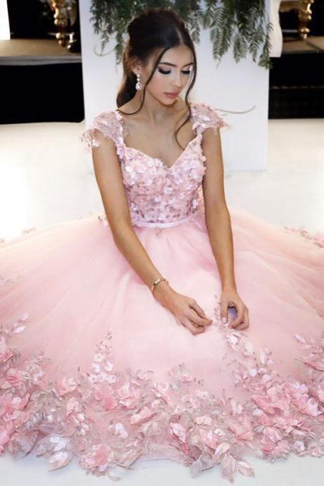 Cheap prom dresses 2017,Pink Ball Gowns,Flower Dress,Cap Sleeves Homecoming Dress,Short Prom Dresses