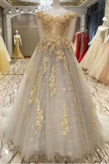 Sexy A-Line Lace Gray Wedding Dress 2017 Romantic Robe Appliques Beaded Bride Dresses