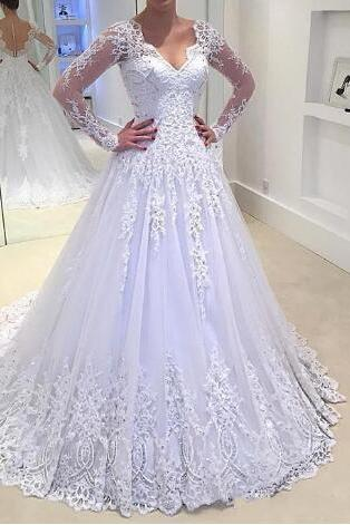 2017 Princess Wedding Dress A-Line Deep V-Neck White Wedding Dress Beads Long Sleeves Robe