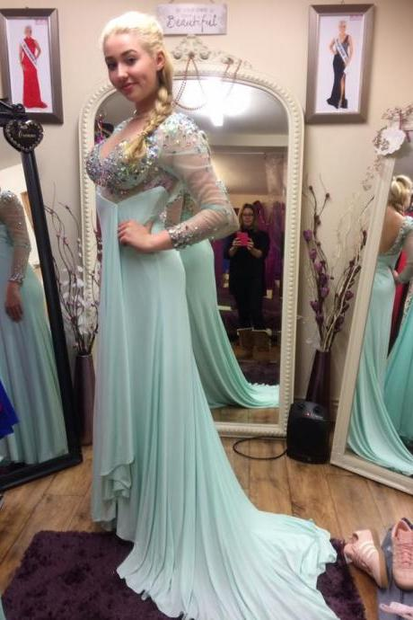 Cheap prom dresses 2017,Open Back Mermaid Chiffon Prom Dresses Long Sleeves