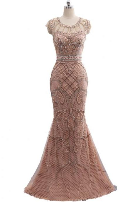 Cheap prom dresses 2017,Champagne Color Party Occasion Formal Long Mermaid Evening Dress heavy Beaded In stock