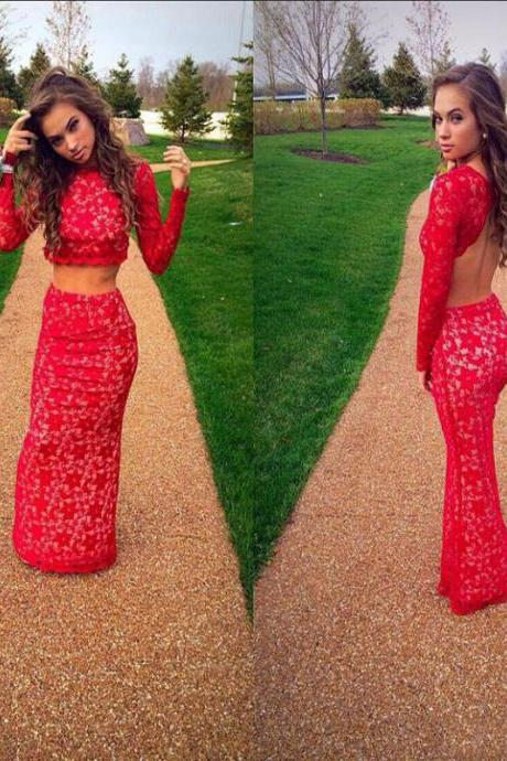 Cheap prom dresses 2017,2017 Two Pieces Prom Dresses Sexy Mermaid Backless Long Sleeves Evening