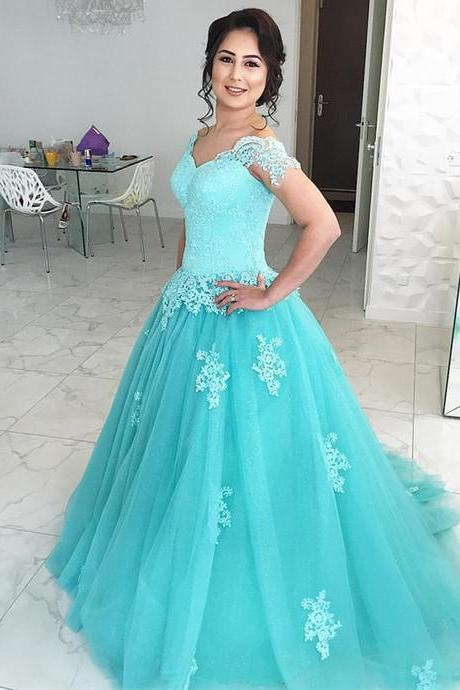Tulle Blue Ball Gown Prom Dress,Long Prom Dresses,