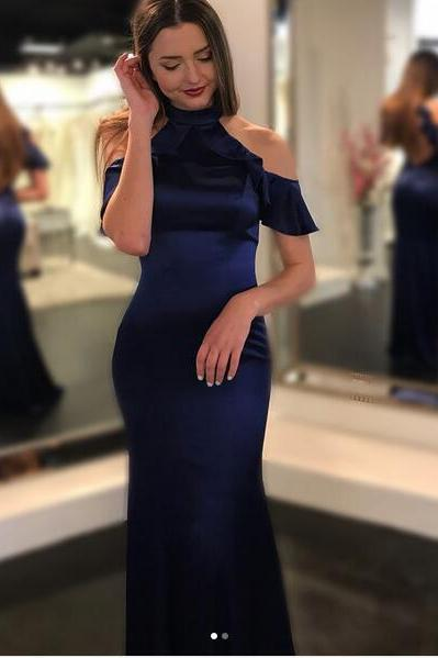 Cheap prom dresses 2017,Navy Blue Mermaid Prom Dresses 2017