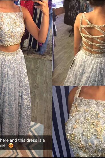Sleeveless Lace Two-Piece A-line Long Prom Dress, Evening Dress Featuring Crisscross Back
