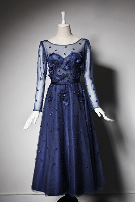 Exquisite Scoop A-line Tea Length Tulle Dark Navy Prom Dress With Long Sleeves