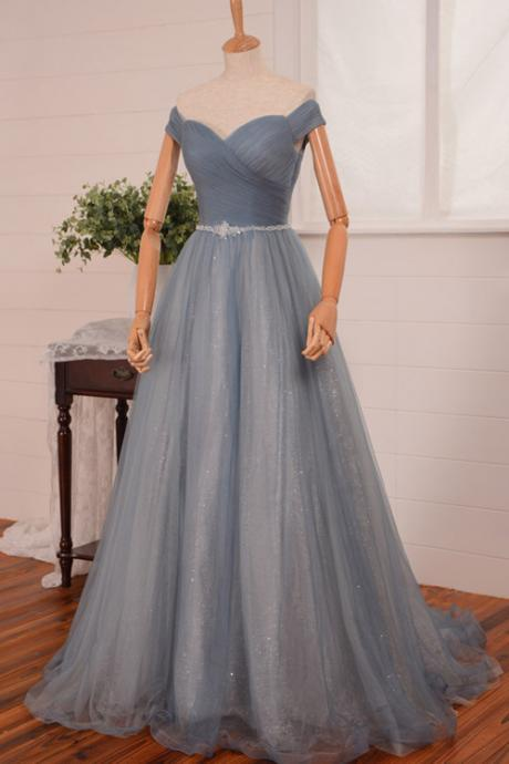 Cheap prom dresses 2017,Sexy off-shoulder Sweep Train Backless Blue Prom Dress With Sequined