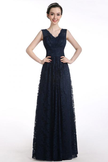 Cheap prom dresses 2017,A-line V-neck Floor-length Sleeveless Lace Navy Blue Long Pron Dress