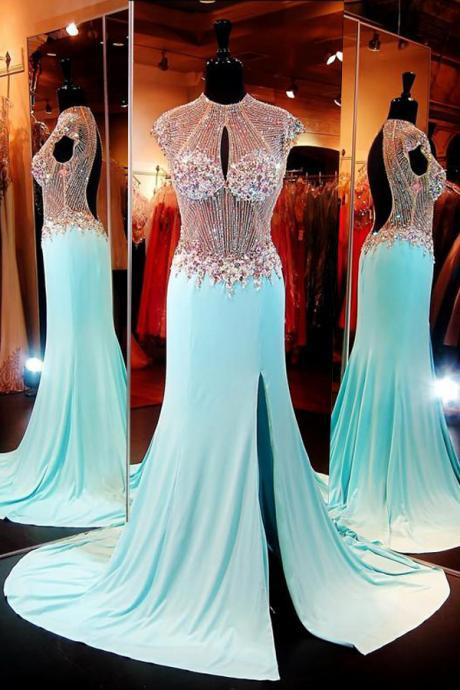 Cheap prom dresses 2017,Luxuriours High Neck Baby Blue Split Open Back Sweep Train Prom Dress with Beading