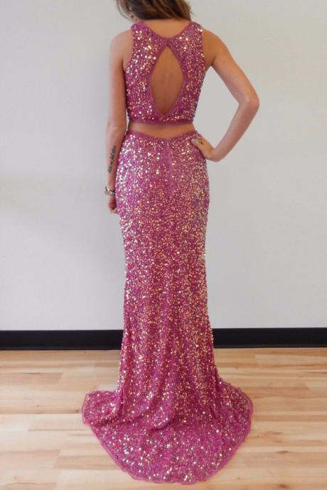 Cheap prom dresses 2017,Sparkling Two-piece Mermaid Scoop Split Sleeveless Fuchsia Prom Dress with Sequins