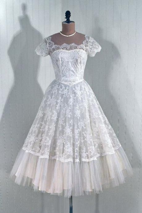 1950S Vintage Ball Gown Lace Beach Wedding Dresses