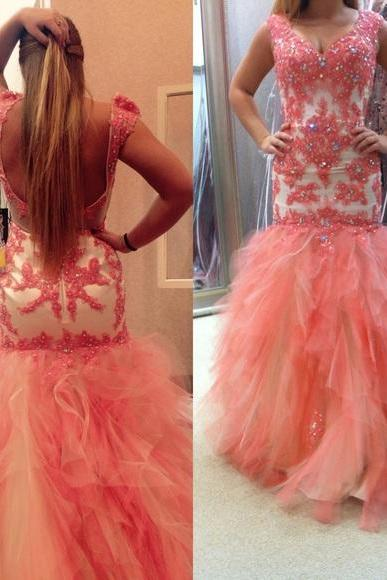 Prom Dresses Sexy Luxury Sparkle Pink Cheap V-neck