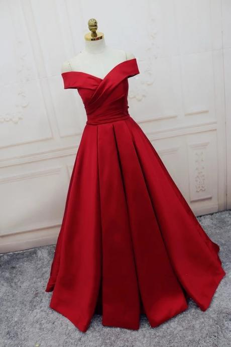 Charming Prom Dress, A Line Prom Dress,Dark Red Evening Dress,