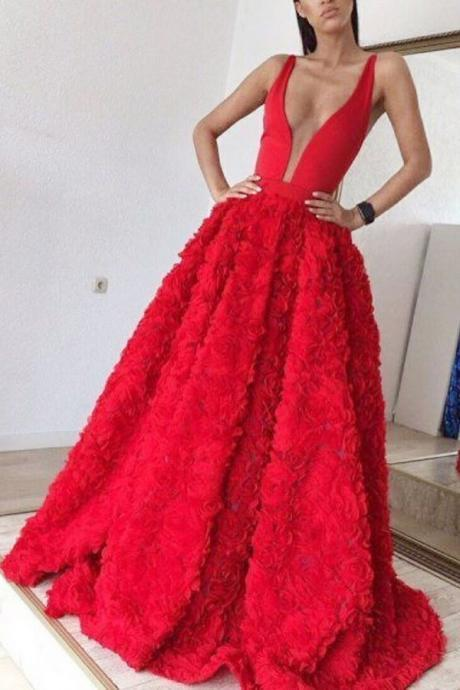 Cheap prom dresses 2017,Red Deep V-neck Sleeveless Sweep Train Satin Lace Appliques