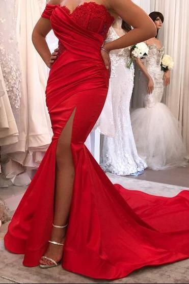 Cheap prom dresses 2017,Sexy 2017 Red Mermaid Satin Prom Dresses