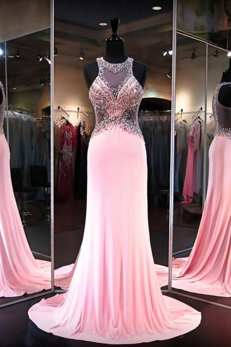 Cheap prom dresses 2017,Modest Sheath/Column Chiffon with Beading Sweep Train Pink Prom Dresses