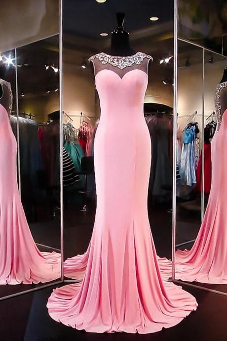 Cheap prom dresses 2017,Unique Trumpet/Mermaid Scoop Neck Silk-like Satin Beading Pink Prom Dresses