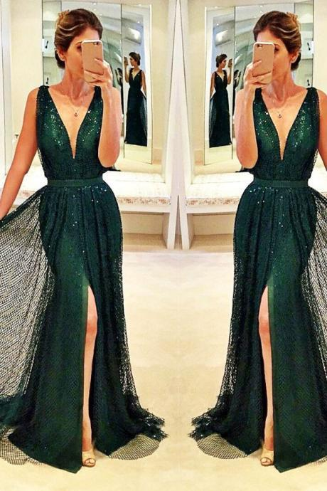 Sequins Plunge V Sleeveless Floor Length Sheath Prom Dress Featuring Slit