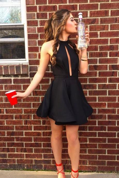 Cheap homecoming dresses 2017,Halter Homecoming Dresses,Little Black Dresses,A-line Homecoming Dresses
