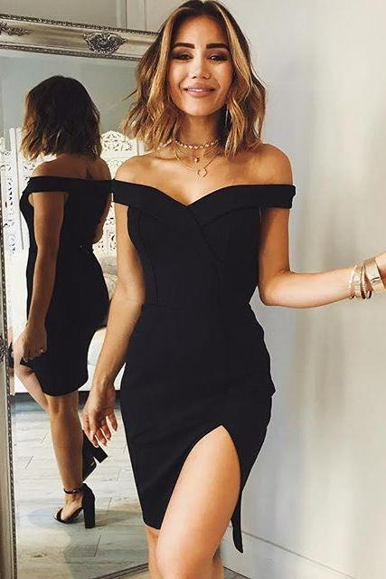 Cheap homecoming dresses 2017,Off Shoulder Homecoming Dresses,Off shoulder black satin homecoming dress,