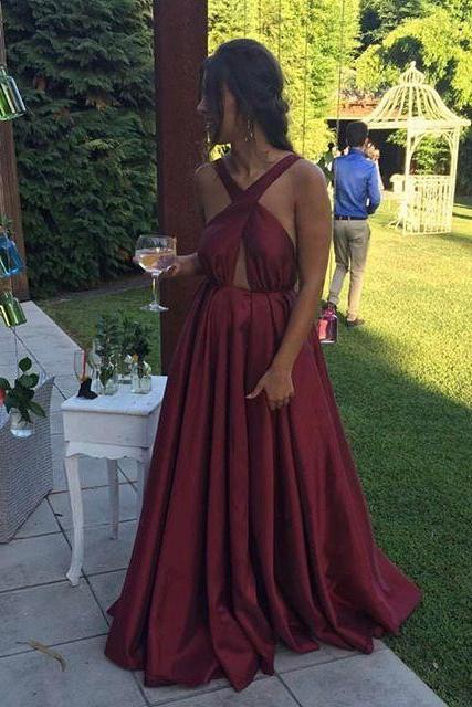 Cheap prom dresses 2017,Cross Straps Long Evening Dress , Pleated Satin Formal Party Gown