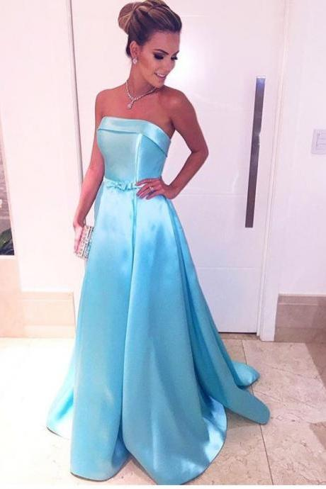 Cheap prom dresses 2017,Elegant Blue Formal Dresses,Satin Evening Gowns