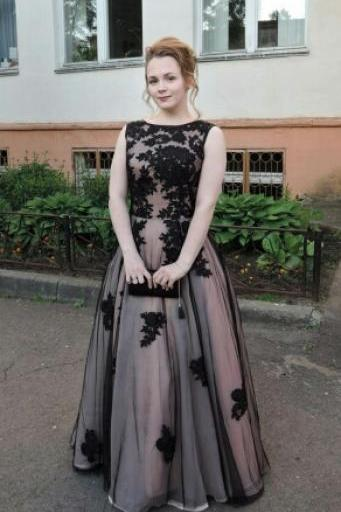 Cheap prom dresses 2017,Black Lace Appliqued Evening Dresses 2017