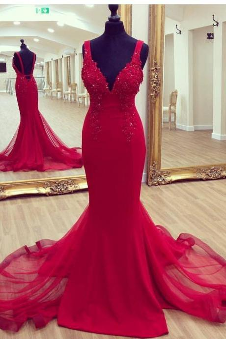 Red Sleeveless Plunging V Lace Appliqués Mermaid Long Prom Dress, Evening Dress with Long Train and Open Back