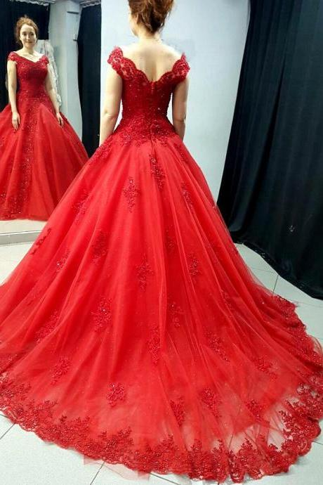 Court Train Off the Shoulder Red Bridal Dresses