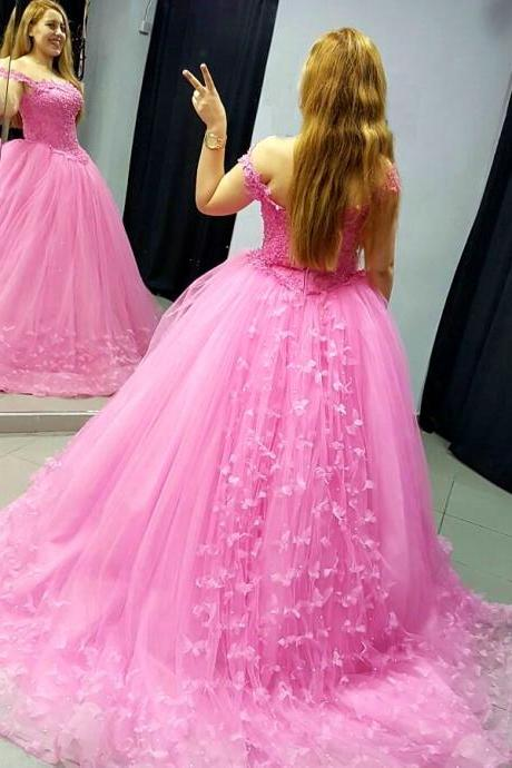 Pink Appliqued Corset Ball Gown Prom Dresses