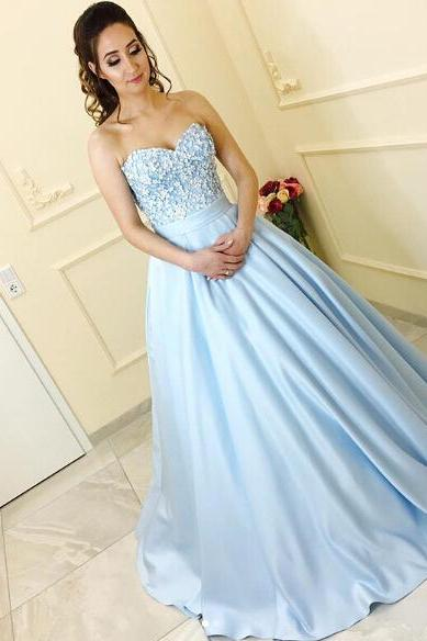 Cheap prom dresses 2017,Cute Lace Flowers Appliqued Prom Dresses,Blue Satin Ball Gowns